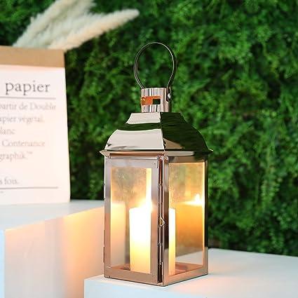 Set of 12 MW34275 Gold Lantern with Blue Glass Indian Jewel Theme Wedding Reception Table Decoration Indian Centerpiece Lanterns