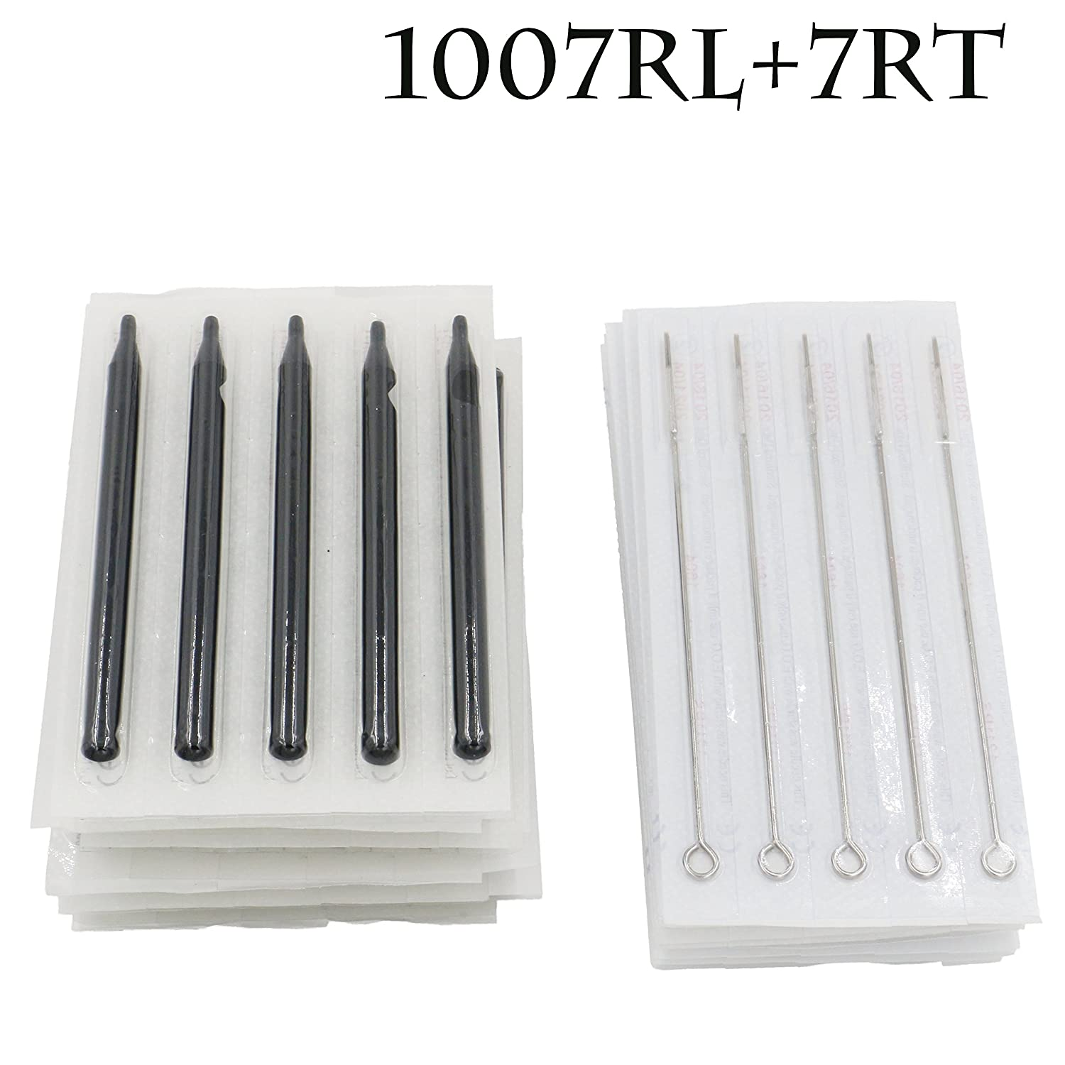 Yuelong® 50pcs Disposable Sterile Tattoo 7rl Round Liner Needles & 7r Round Long Sterile Black Tips Stem Nozzle Tube