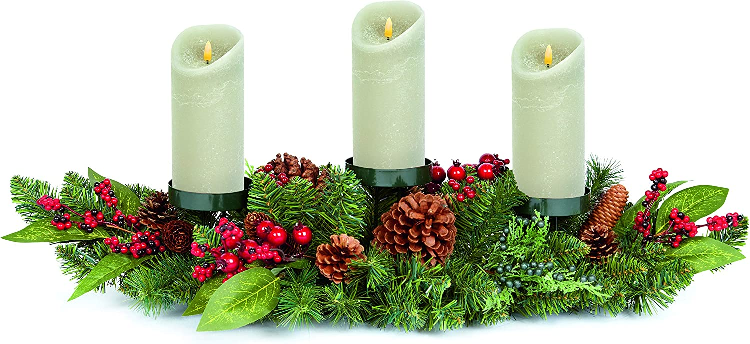 Premier Decorations 80cm Natural Red Berry Triple Candle Holder