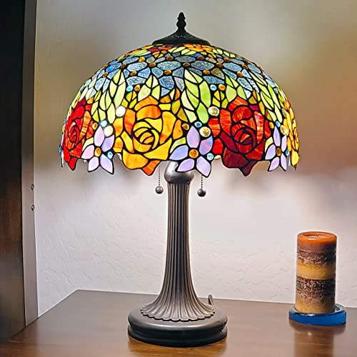 Amora Lighting Tiffany Style Table Lamp Banker 23″ Tall Stained Glass Red Yellow Rose Floral Vintage Antique Light D cor Nightstand Living Room Bedroom Office Handmade Gift AM1534TL16B