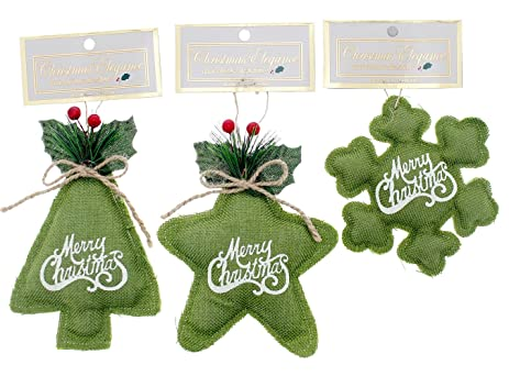 holiday merry christmas ornaments country style cushioned burlapfelt green - Country Style Christmas Decorations