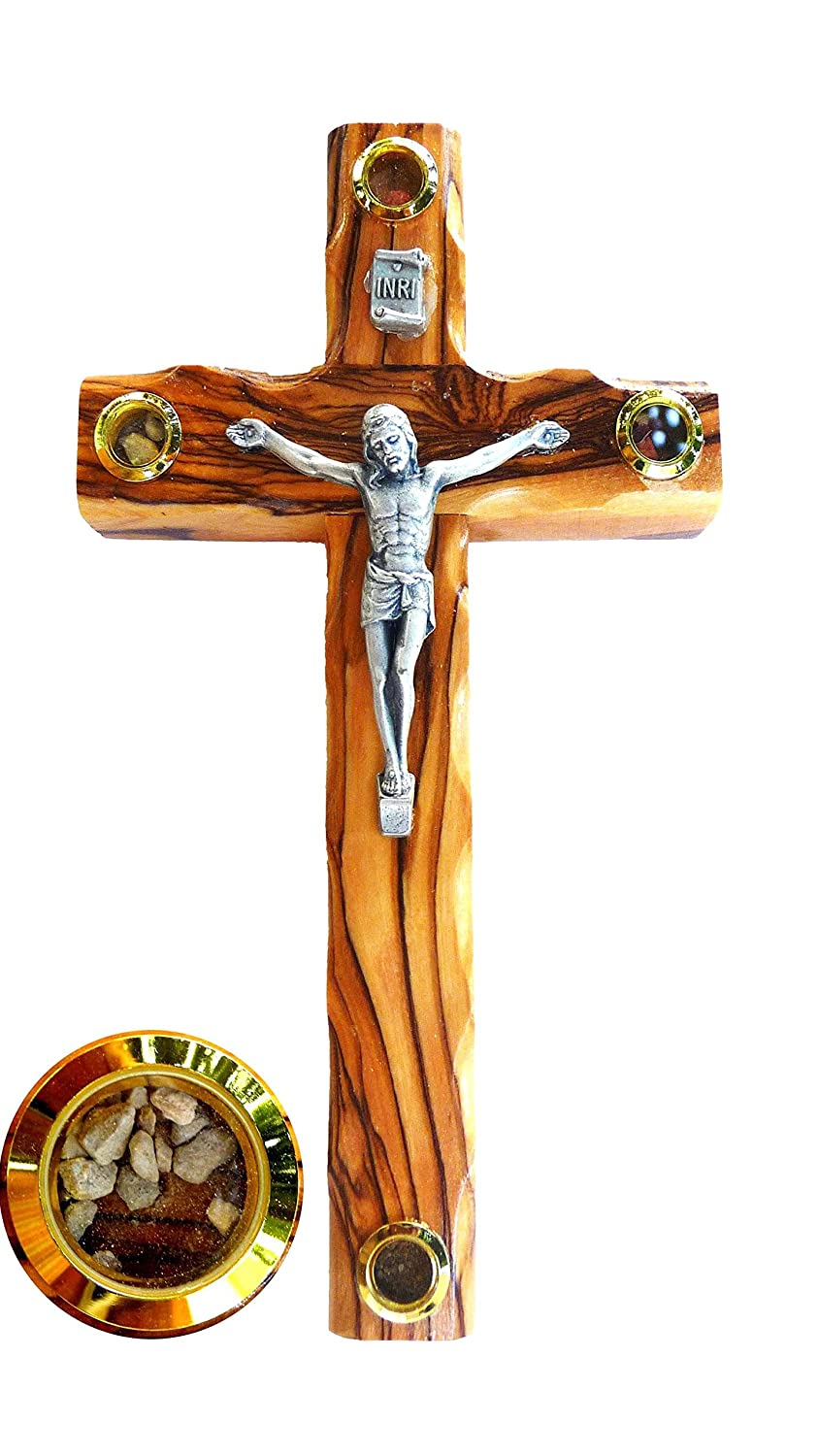 Bethlehem Olive Wood Wall Crucifix with Metal Silver Coated Corpus and Holy Land Elements Bethlehem Casting 561015