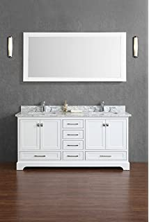 Beautiful Stufurhome Chanel White 72 Inch Double Sink Bathroom Vanity With Mirror In  White