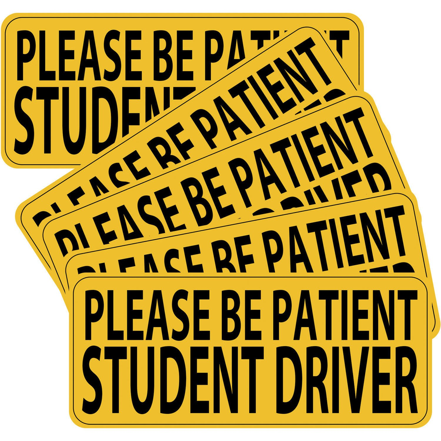 Hotop 5 Pack Student Driver Magnet Safety Sign Vehicle Bumper Magnet Decal 9 by 4 Inch Reflective Car Signs Sticker for New Drivers