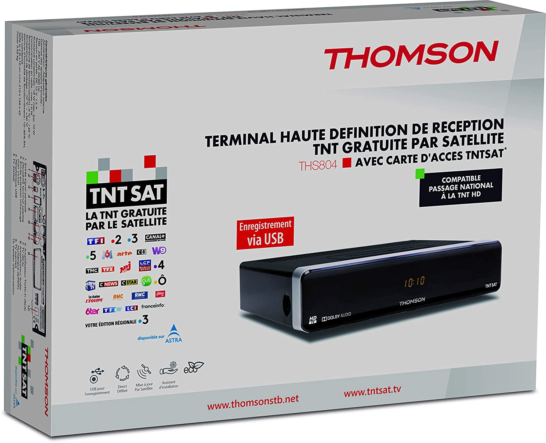 Thomson THS804 - Receptor satélite HD, (MPEG4, USB, 12 V), color negro