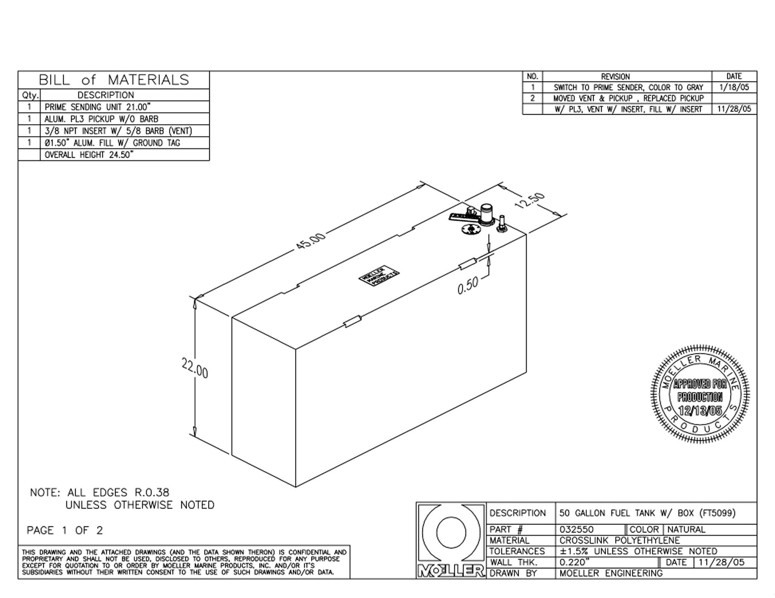 Moeller Marine Below Deck Permanent Fuel Tank (50-Gallon, 45'' x 12.5'' x 22'')
