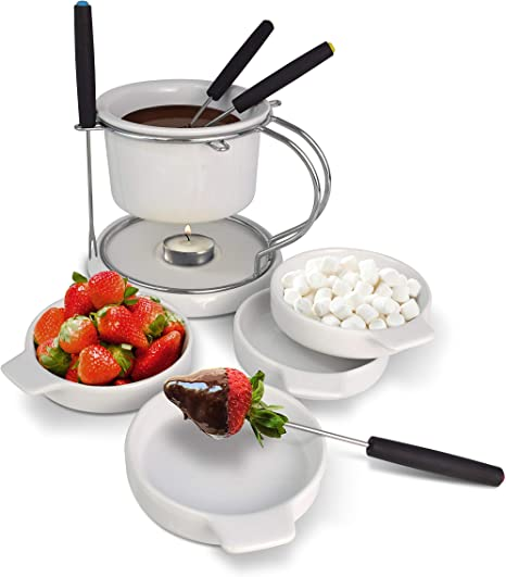 Le Regalo 11 Piece Ceramic Fondue Set 1 Fondue Pot 1 Base Plate 1 Stainless Steel Stand 4 Color Coded Forks And 4 Serving Plates Kitchen Dining