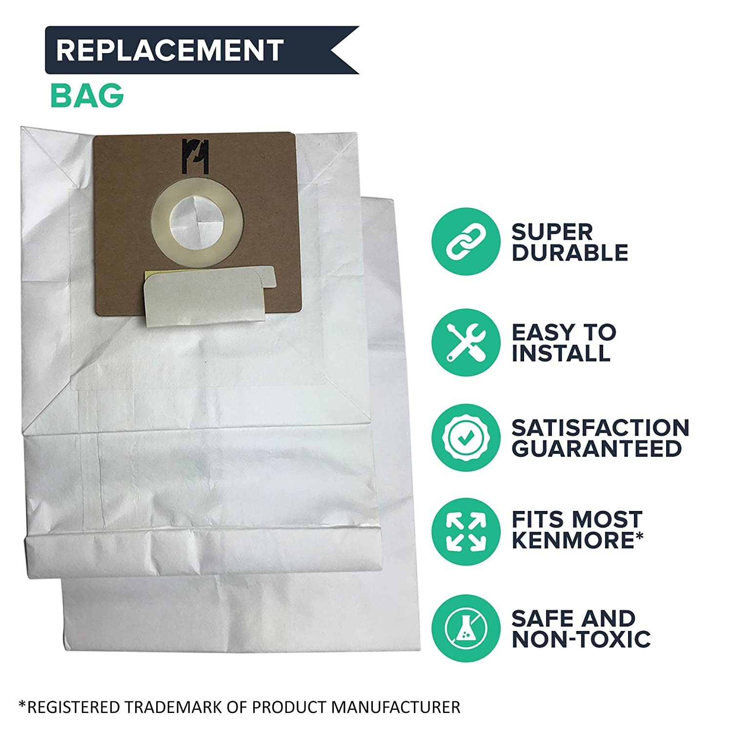 634875 /& 115.2496210 Think Crucial 9 Replacements for Kenmore Type B Cloth Bags Fit Kenmore /& Oreck Canister Vacuums 24196 Compatible With Part # 85003