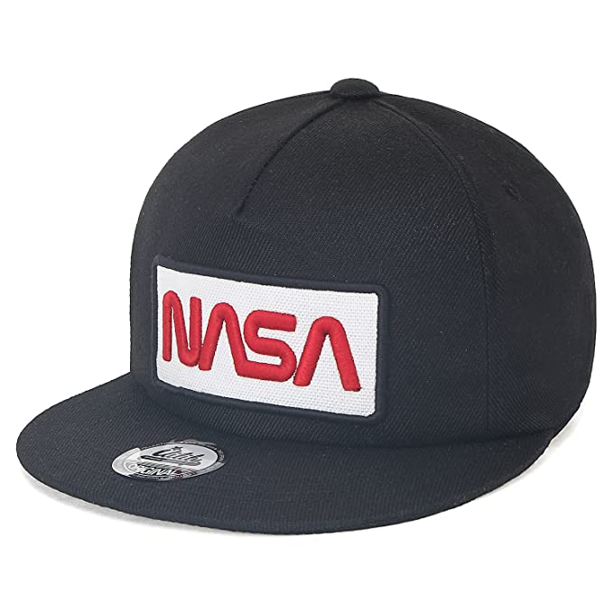 ililily NASA Worm Logo Embroidery Baseball Cap Mesh Snap Back Trucker Hat (Medium, Black