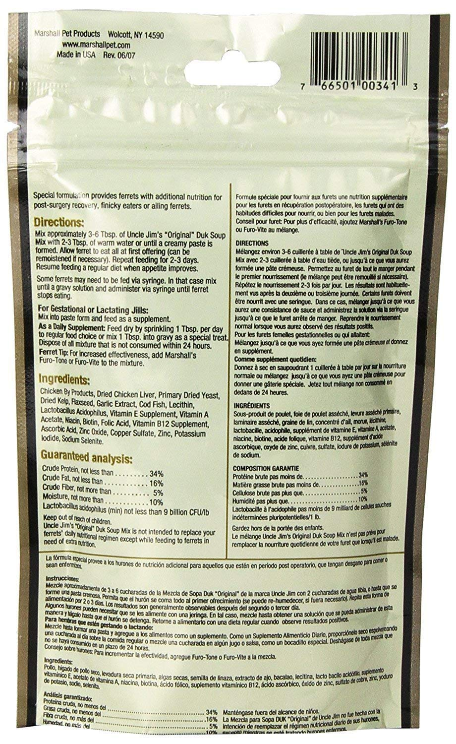 Pack of 12 - Uncle Jim's Original DUK Soup Mix by Marshall - Ferret Food Supplement and Dietary Aid - RandStar Mini Comb by Marshall Pet Products (Image #3)
