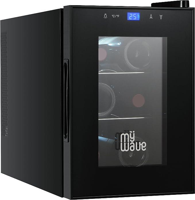 MyWave Vinoteca 6 Botellas MWWT 6B Vertical Capacidad de 20 Litros 70W de Potencia Enfriamiento Termoelectrico Color Negro: Amazon.es: Hogar