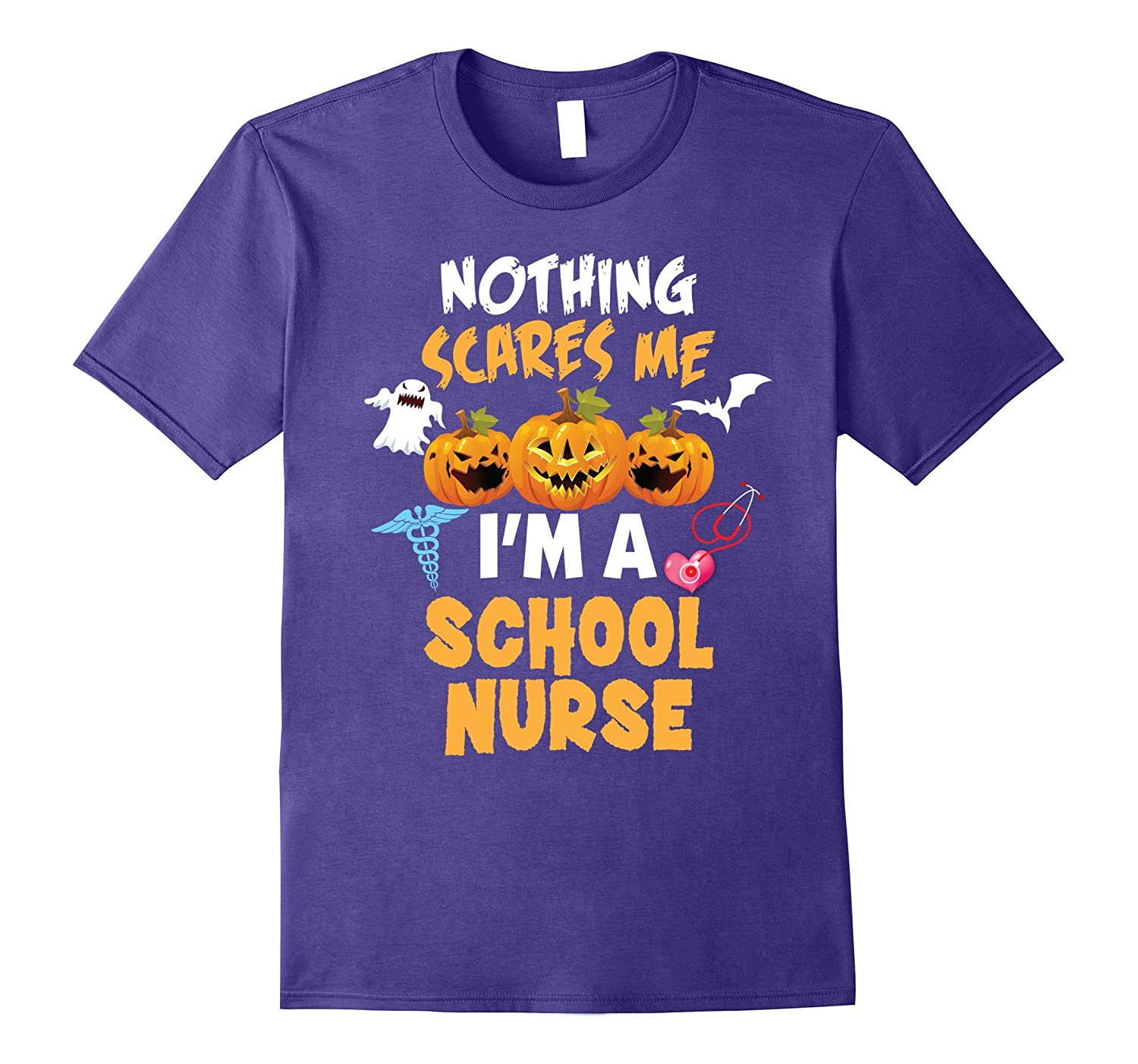 Nothing Scares Me I'm a School Nurse Halloween T-Shirt-BN