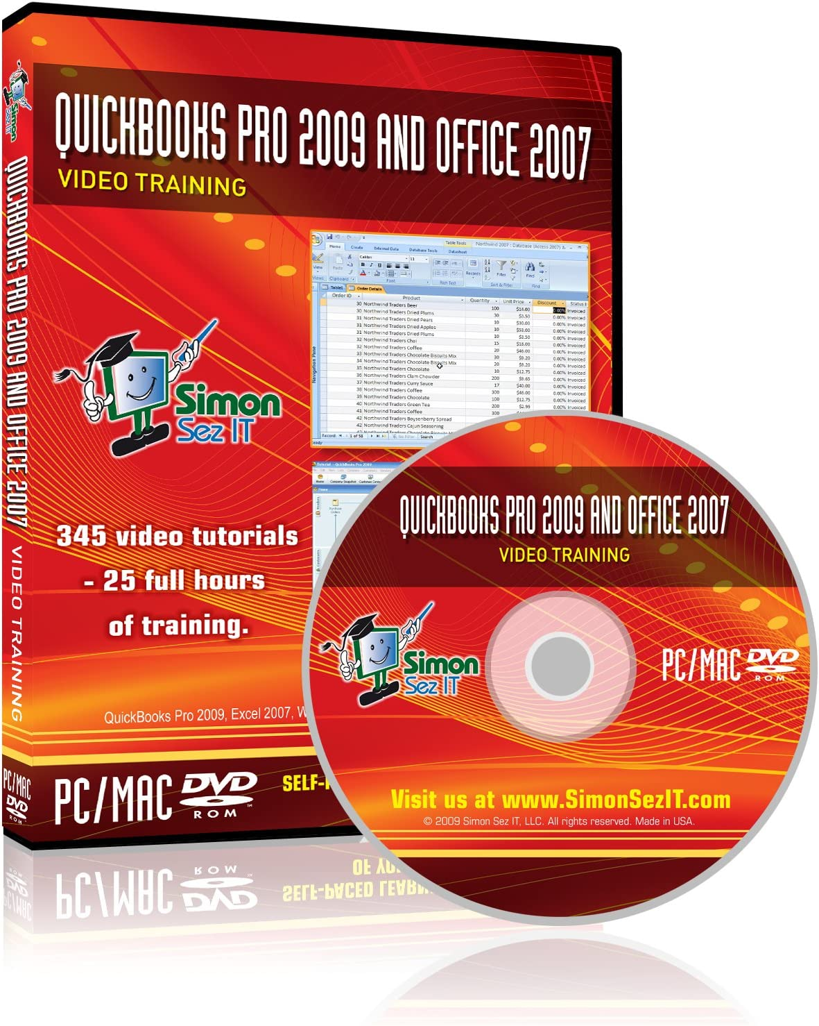 QuickBooks Pro 2009 and Microsoft Office 2007 Training DVD - Video Training Tutorials for QuickBooks Pro 2009, Excel, Word, PowerPoint, Outlook, and Access 2007 by Simon Sez IT