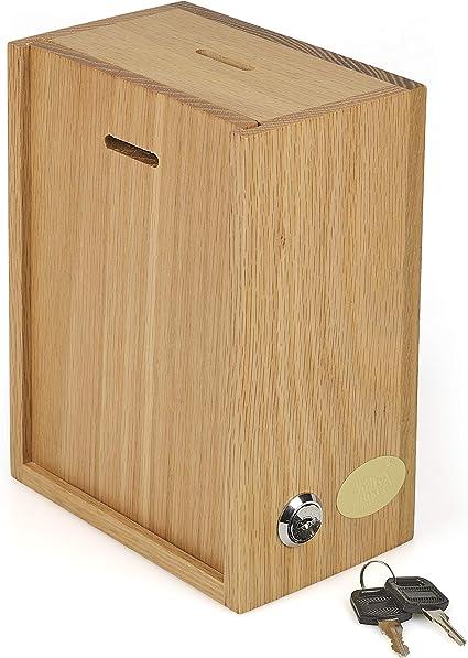 Caja de sugerencias de madera con cerradura para donación de pared -01, color Madera natural.: Amazon.es: Oficina y papelería