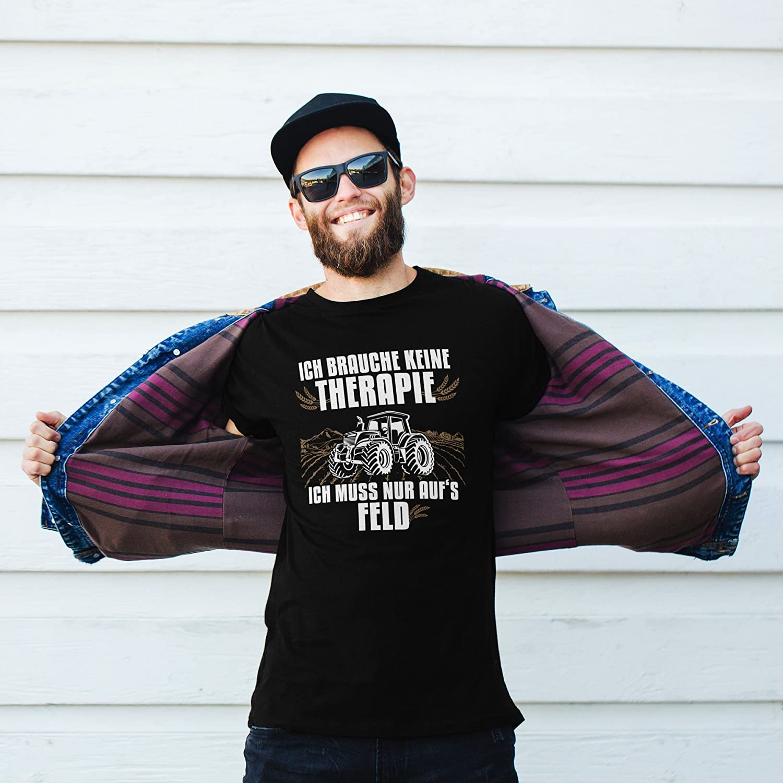vanVerden Camiseta de Hombre Necesito Terapia Tengo Que IR al Campo Granjero, Tamaño:XS, Color:Negro/Blanco: Amazon.es: Ropa y accesorios