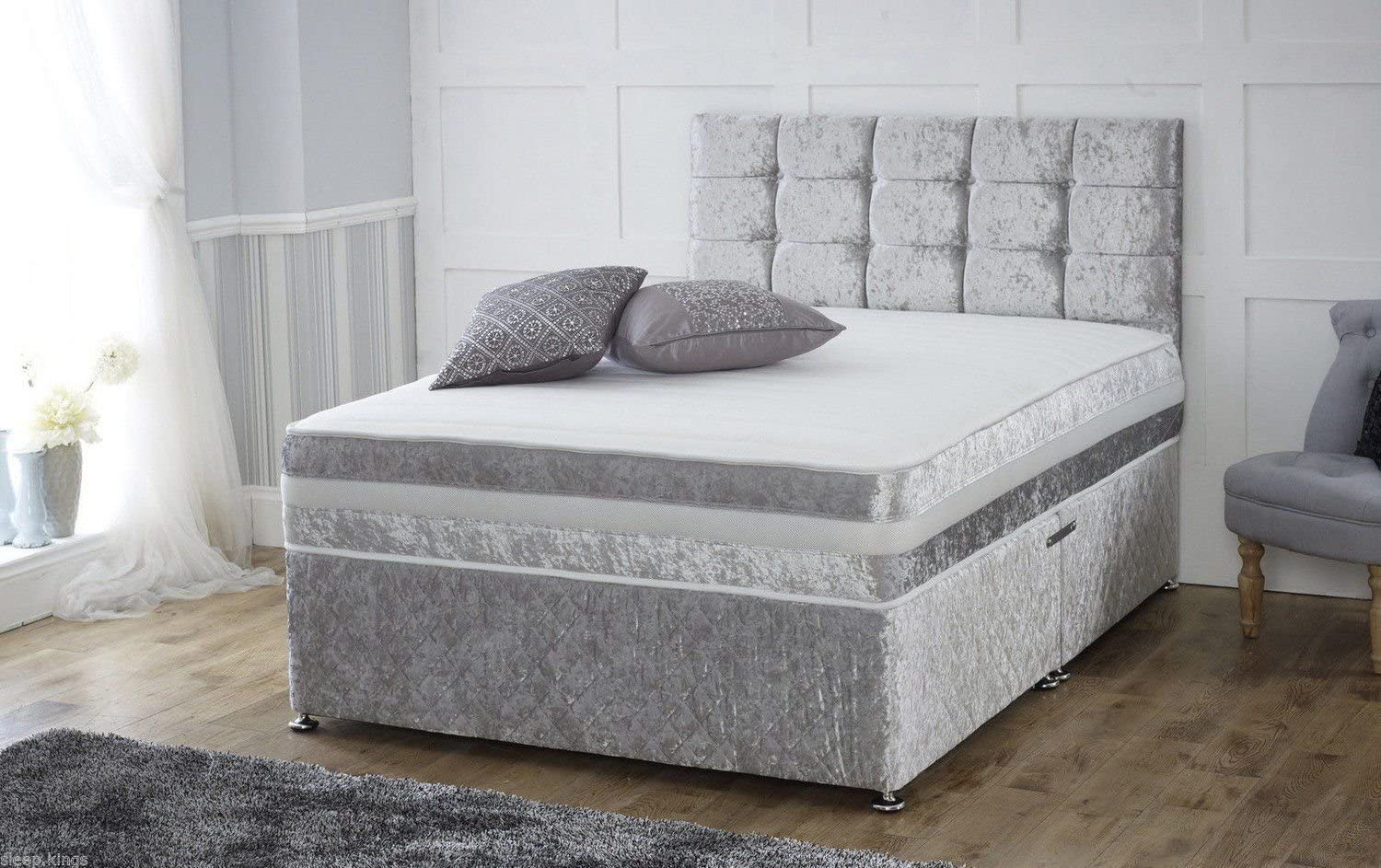 Headboard and 2 free drawers 4ft Small Double Sleep Factory Ltd Grey Suede Memory Foam Divan Bed Set With Mattress