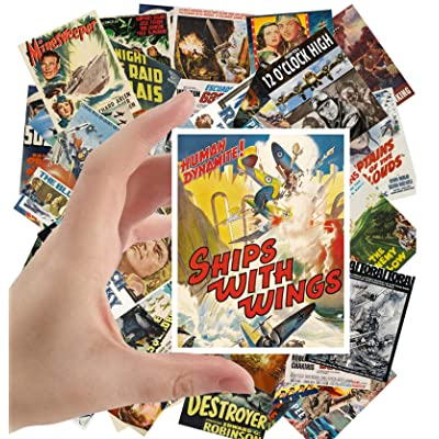 "Large Stickers (24 pcs 2.5""x3.5"") War Ships and Planes WWII Vintage Military Movie Posters Ads: Toys & Games"