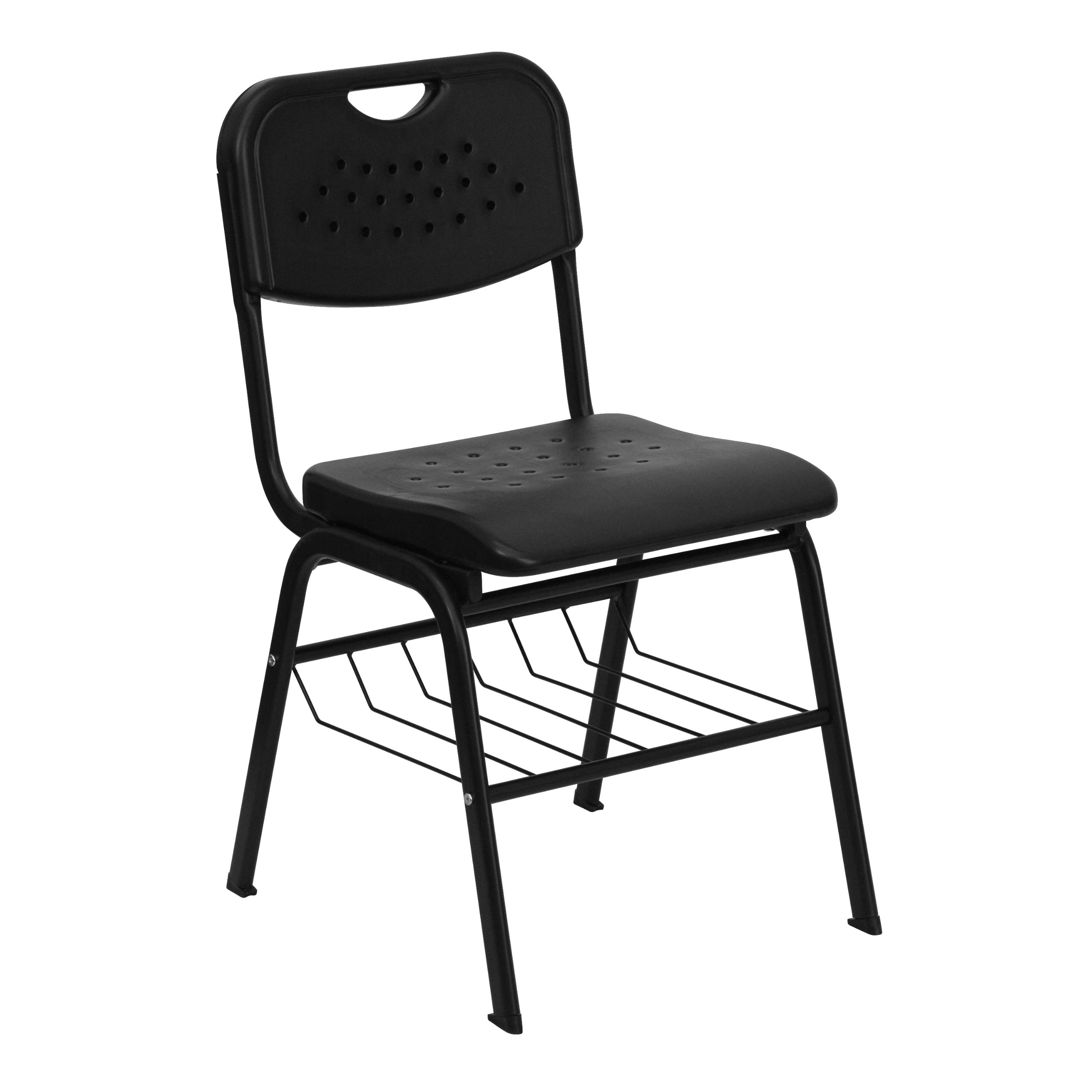 Stylizio Premium Series 880 lb. Capacity Plastic Chair with Frame and Book Basket
