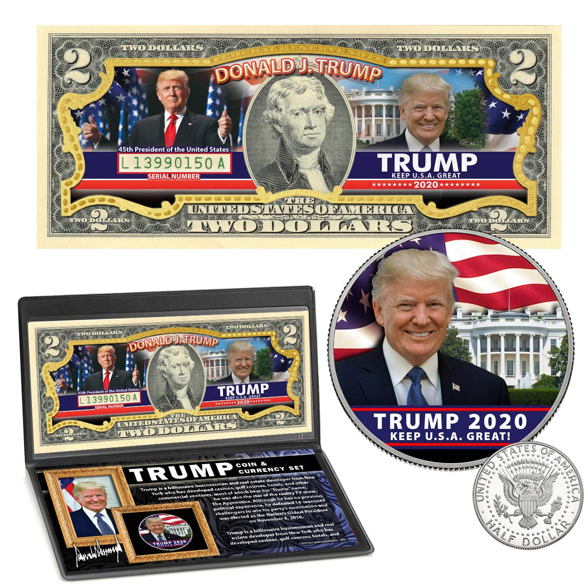 President Donald Trump 2020 Genuine $2 Bill And Coin...