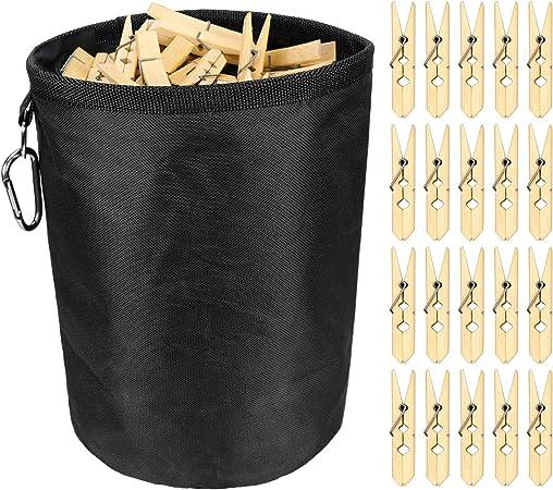 Impermeabile 20 x 30 cm SelfTek Durevole per Uso Interno ed Esterno con Clip per appenderle Borsa per mollette da bucato con 20 mollette in bamb/ù Grande Borsa per mollette da bucato