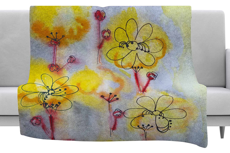 80 x 60 Fleece Blanket Kess InHouse Maria Bazarova Blue Flowers Black Floral Throw