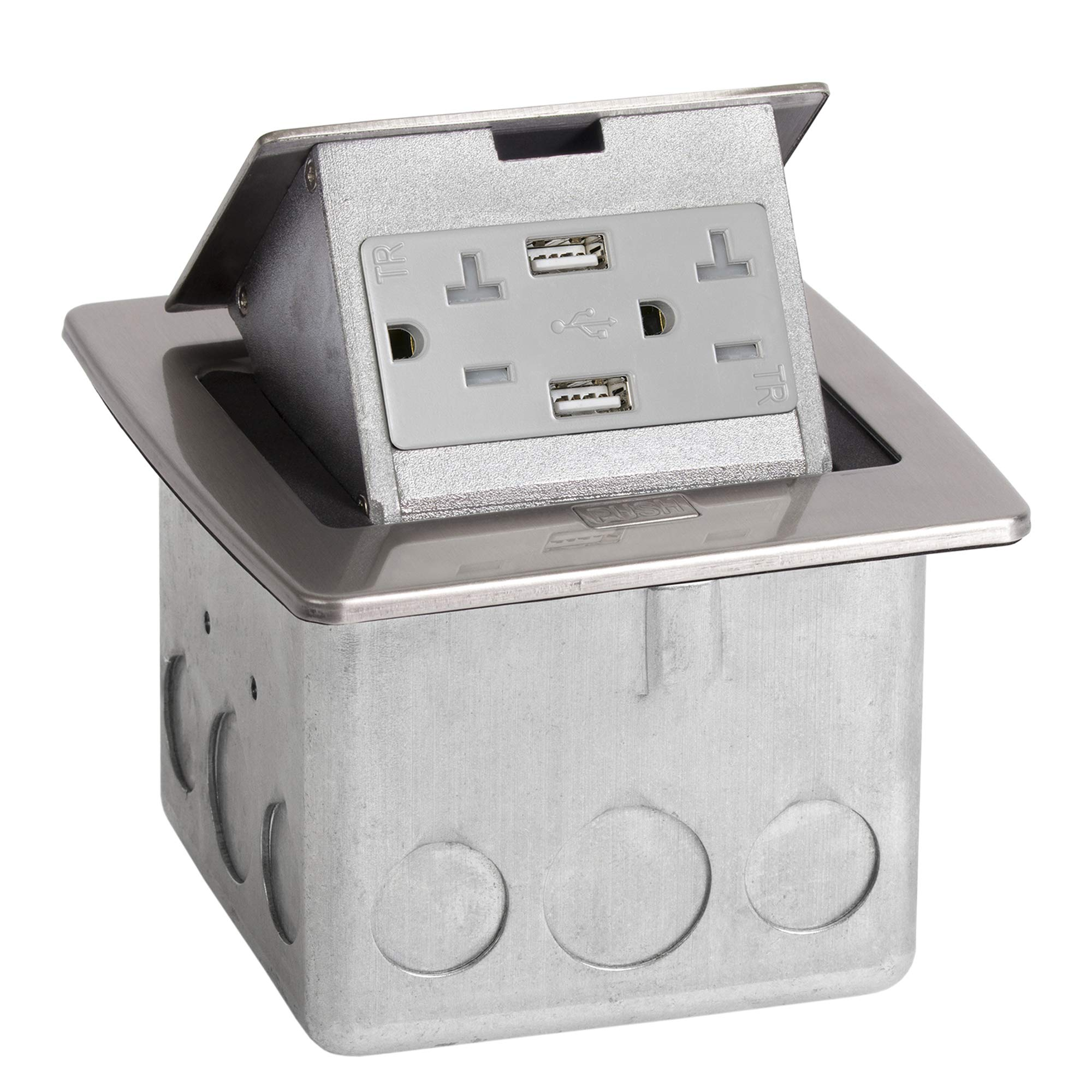Lew Electric PUFP-CT-SS-2USB Countertop Box, Pop Up w/15A & Single Power/2 USB Receptacle - Stainless Steel by Lew Electric