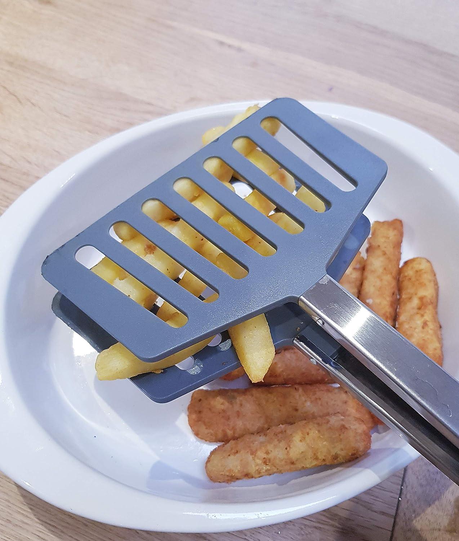Fleisch Grill Dally Zange Kochen K/üche BBQ Zange Extra breiter Pfannenwender aus Nylon Salat Grillen Edelstahl mit Silikongriff. einfaches Drehen f/ür Pfanne