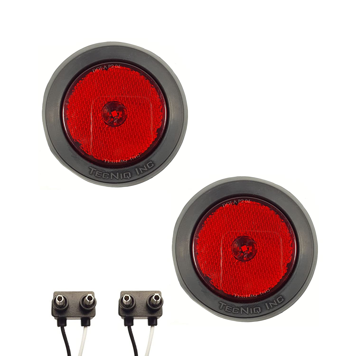 RVs Pair of LED 2.5 Round Red Clearance//Side Marker Lights with Grommets and 2 Pole Wire Connectors for Trucks Trailers