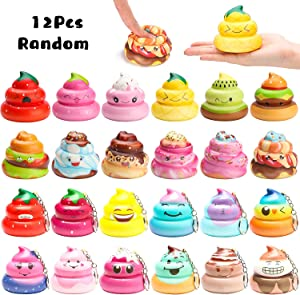 WATINC Random 12 Pcs Kawaii Soft Poo Squishies Cream Scented Stress Relif Toy, Decorative Props Gift Hand Toy for Kids