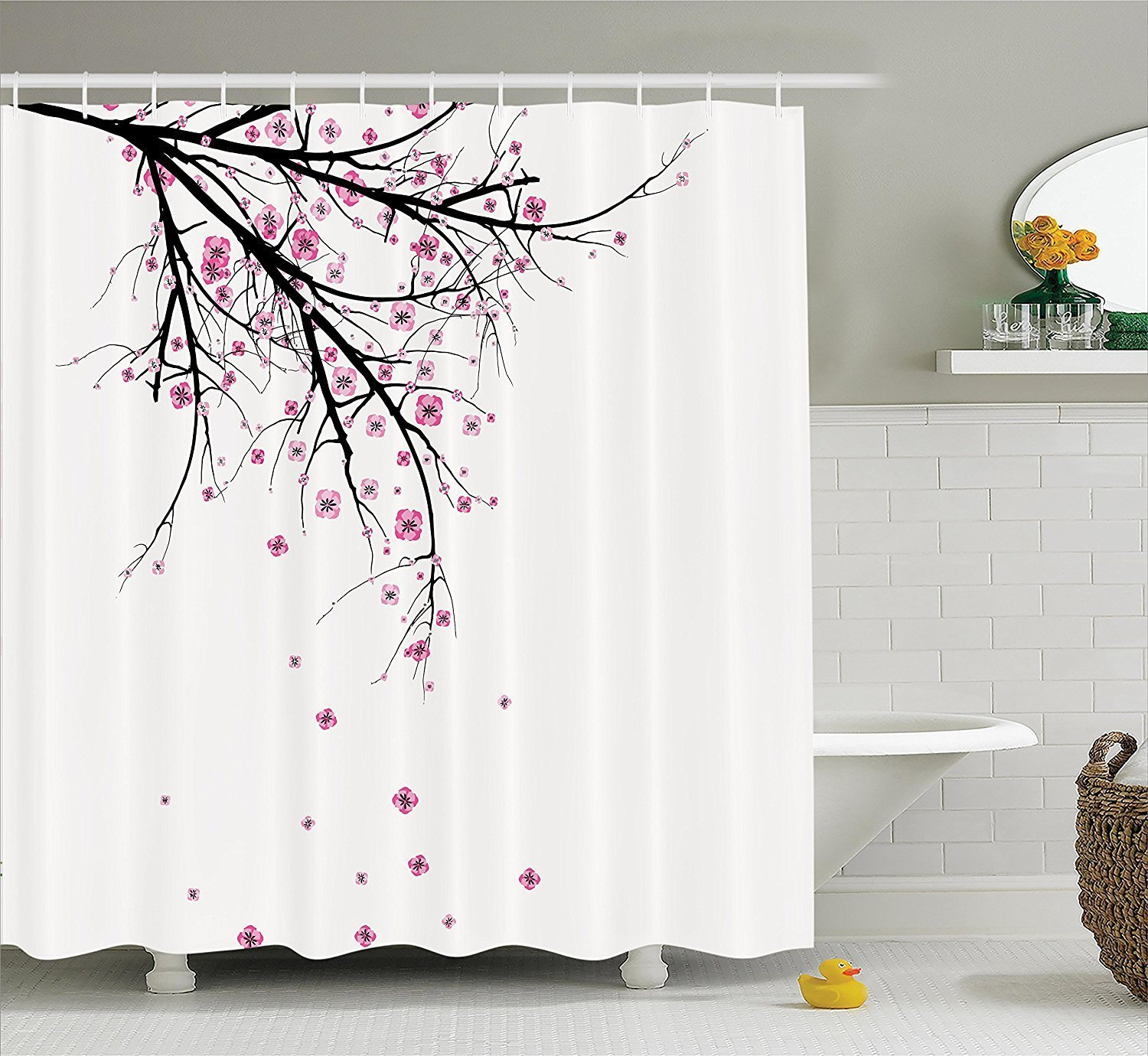 House Decor Shower Curtain Set By YOUHOME Cherry Blossoming Falling Petals Flowers Springtime Park Simple Illustration Print Bathroom Accessories