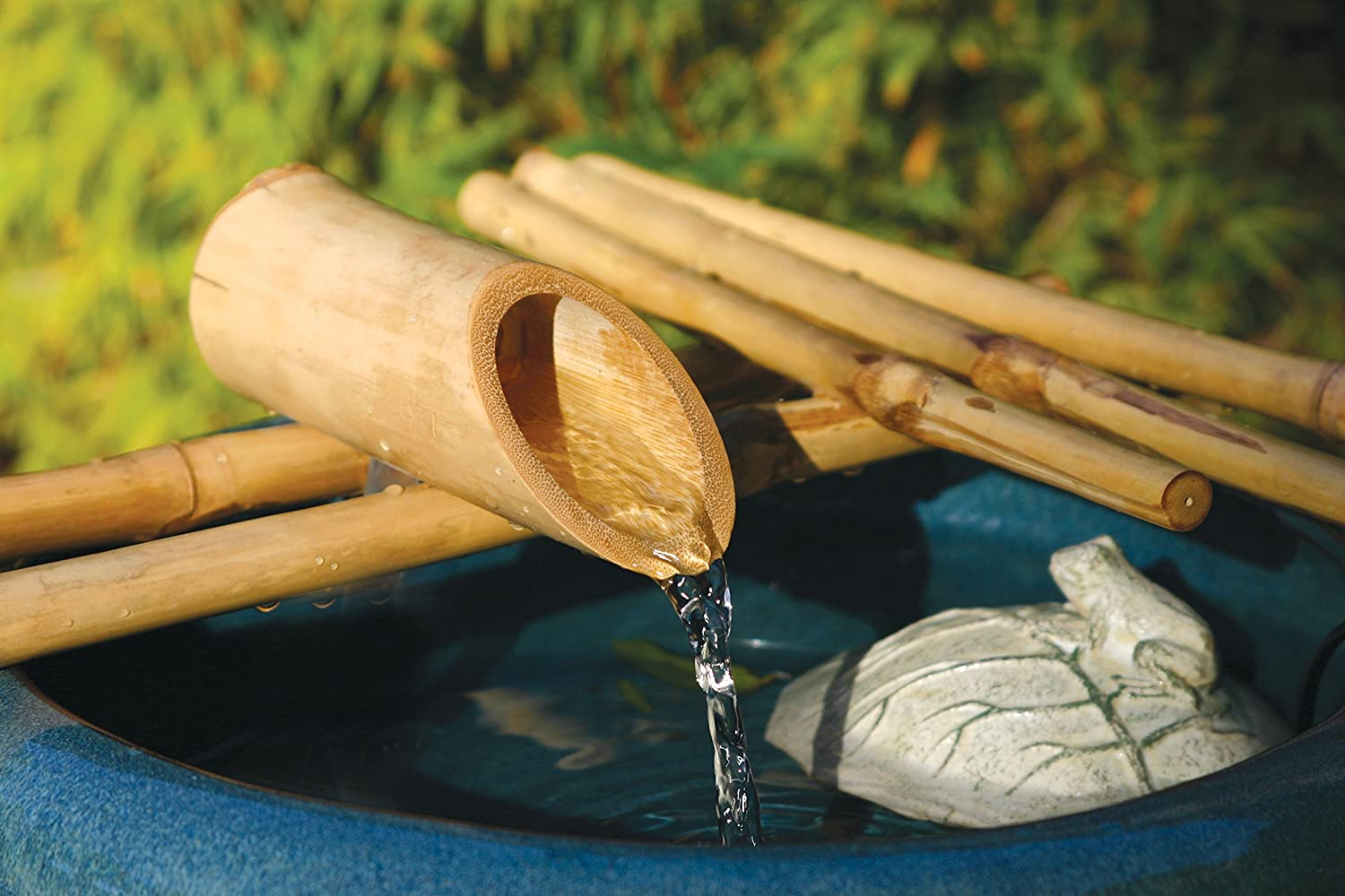 "Bamboo Accents Low-Profile Water Fountain for Garden, Indoor/Outdoor Fountain, 12"" Wide Five-Arm Style Base, Smooth Split Resistant Bamboo for a DIY Zen Fountain"