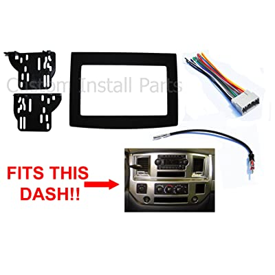 Black Radio Stereo Double Din Dash Install Kit w/Wiring Harness Compatible with Dodge Ram 2006-2010: Car Electronics