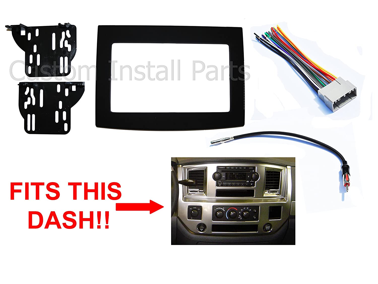 818Bqf%2Bvf6L._SL1500_ amazon com black dodge ram radio stereo double din dash install 95 dodge ram dash wiring harness at crackthecode.co