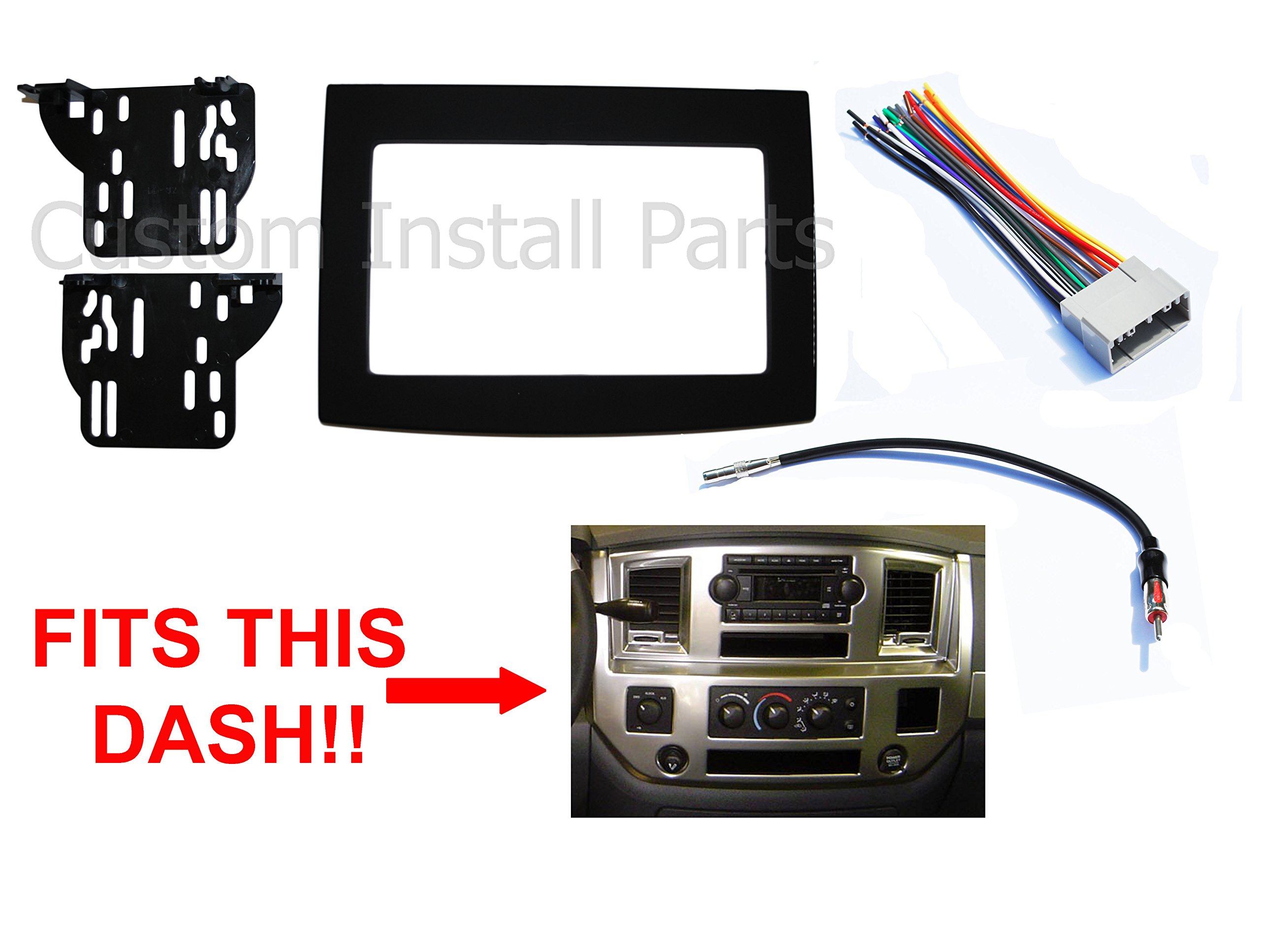 Black Dodge Ram Radio Stereo Double Din Dash Install Kit w/ Wiring Harness