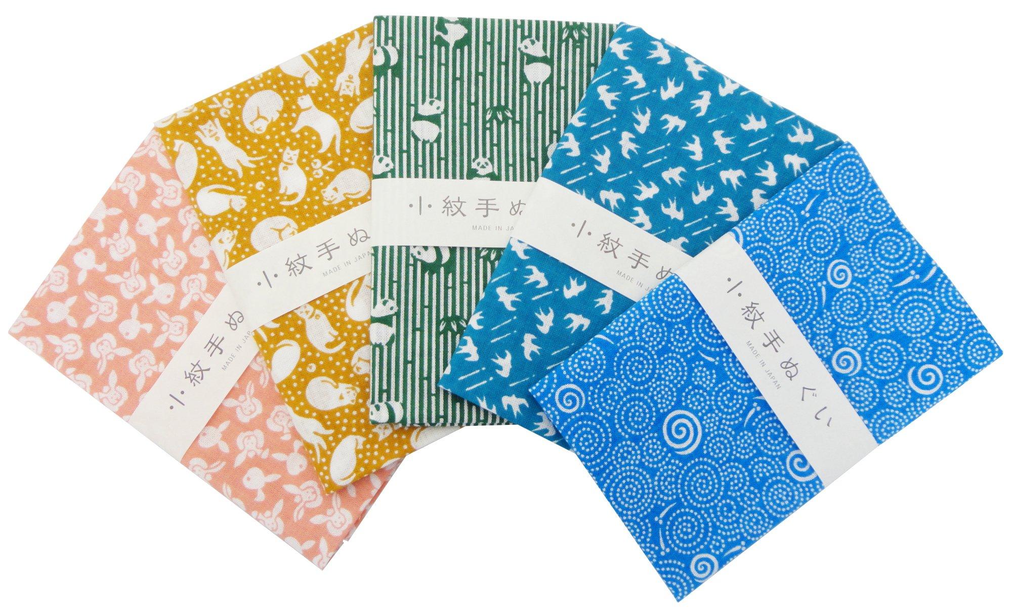 Japanese Traditional Towel ''Tenugui'' Small Pattern 5 type set Animal Pattern-2