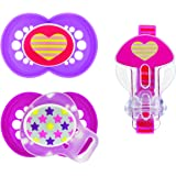 MAM Silicone Trends Pacifier with Clip, Girl, 6 Plus Months, 3-Count, (For Girl)