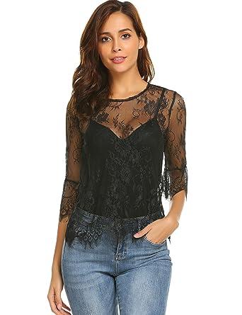 d0160833aca Grabsa Women's See Through Shirt Scallop Trim Bell Sleeve Sheer Floral Lace  Blouse Black S