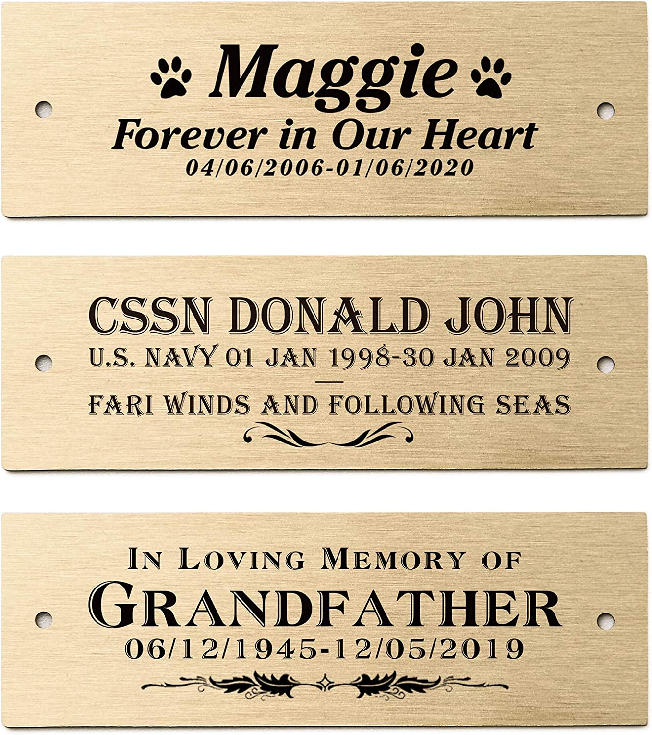 """3"""" W x 1"""" H, Personalized Custom Engraved Brushed Gold Solid Brass Plate Picture Frame Name Label Art Tag for Frames, with Adhesive Backing or Screws"""