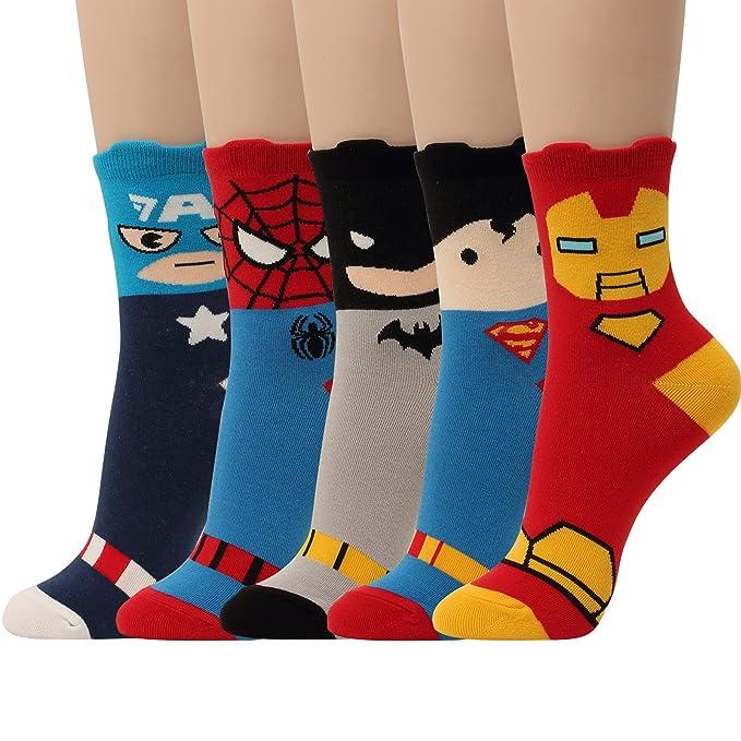 Amazon.com: 5 pares de calcetines de héroe de película, de ...