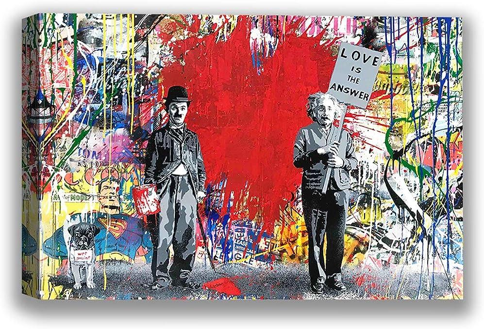 Mr Brainwash Chaplin and Kid Poster Painting Graffiti Print Home Wall Art