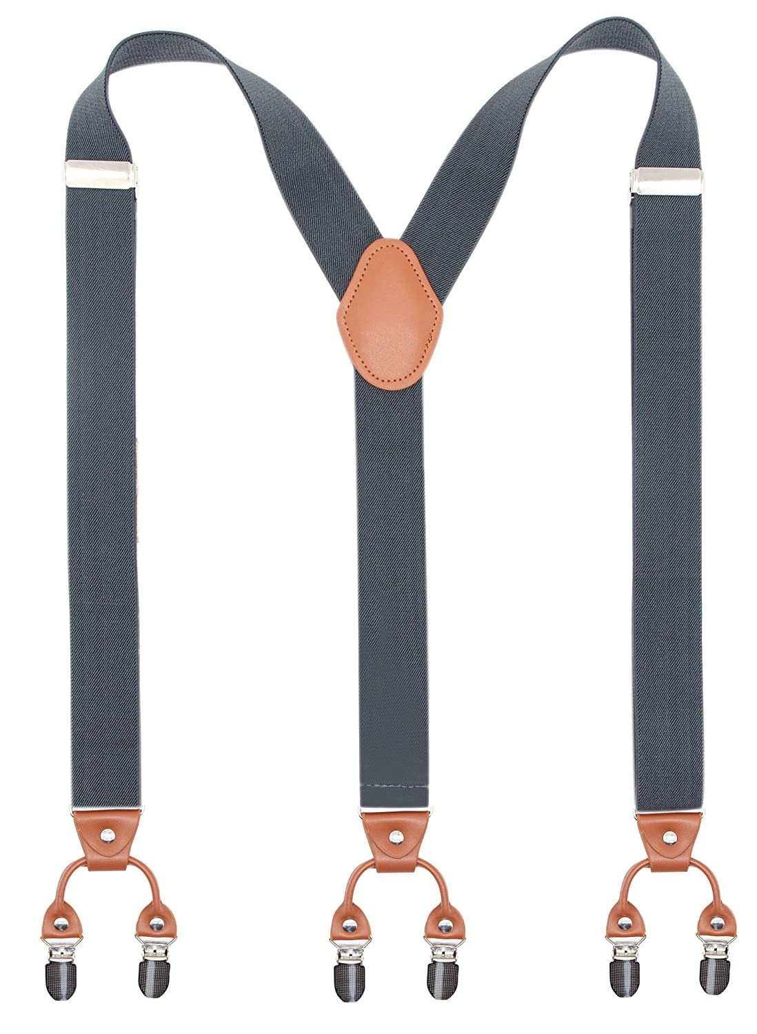 Men's Accessories Apparel Accessories Trend Mark Solid Buckle Adjust Clipping 3 Clips Creative Popular Brown Leather Kids Suspender Y Back Holiday Outfit For Boys Wedding Use
