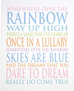 Stupell Home Décor Somewhere Over The Rainbow Typog Oversized Stretched Canvas Wall Art, 24 x 1.5 x 30, Proudly Made in USA