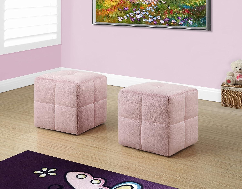 2 PIECES SET JUVENILE FUZZY PINK FABRIC OTTOMAN Furnituremaxx MON8165