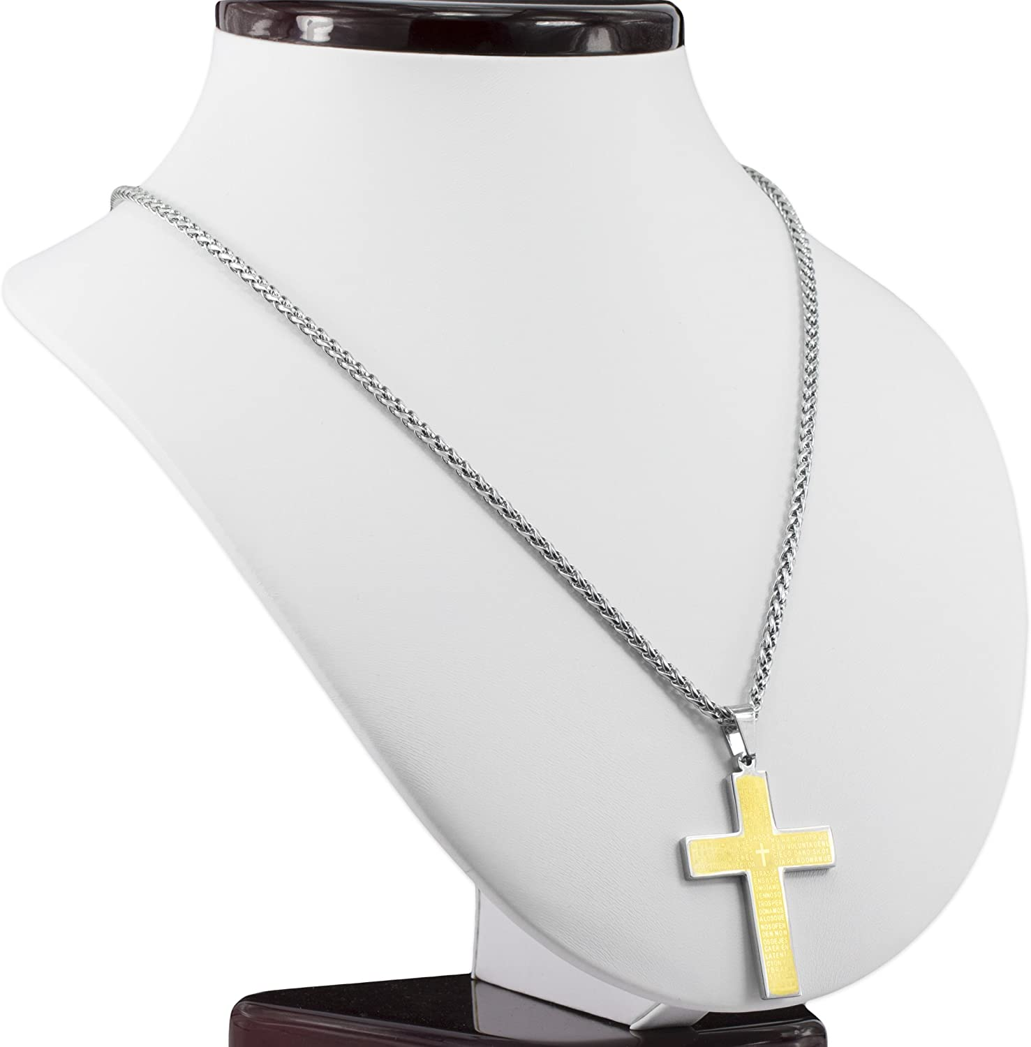 Elegant Gift Box MESE London Cross with Bible Verse Necklace 18ct Gold Plated The Holy One