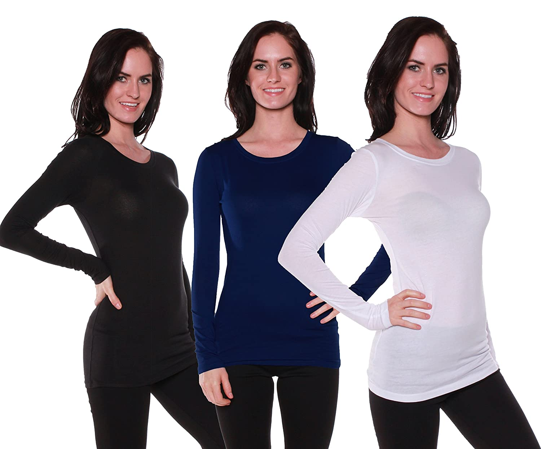 Active Products SHIRT レディース B06WP5NKN4 Medium 3 Pack - White, Navy, Black 3 Pack - White, Navy, Black Medium