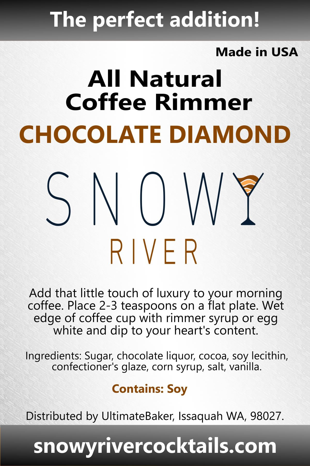 Snowy River Coffee Rimmer (Chocolate Diamond, 8oz)