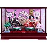 雛人形 ケース飾り ひな人形 ワイン塗ケース 桜輪バック親王飾り W48×D29×H34cm 2830