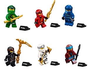 LEGO Ninjago Legacy Minifigure Combo Pack - Lloyd, Jay, Kai, Cole, Zane, NYA (with Weapons and Display Stand)