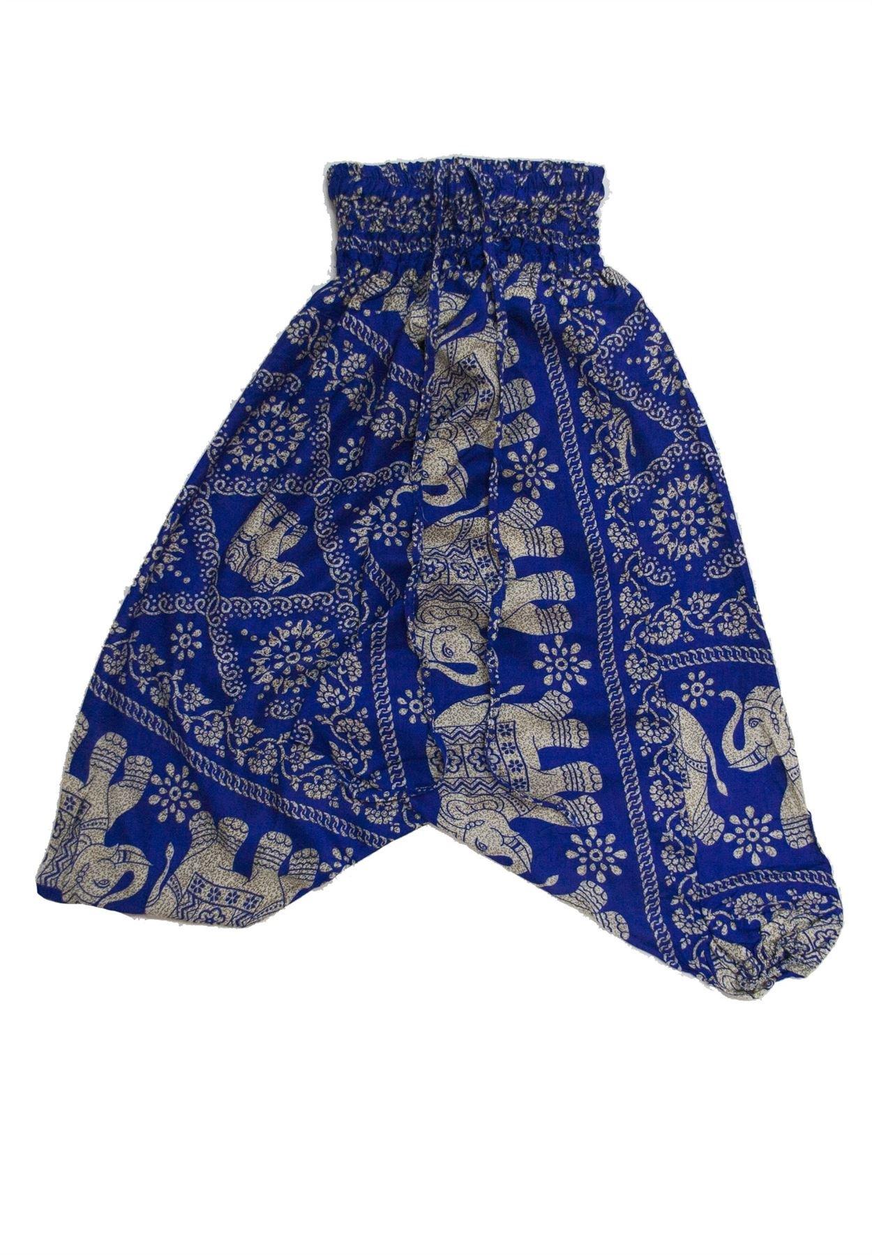 Lofbaz Kids Harem Elephant 2 Child Aladdin Pants Boho Hippy Blue Size 3/4 Years