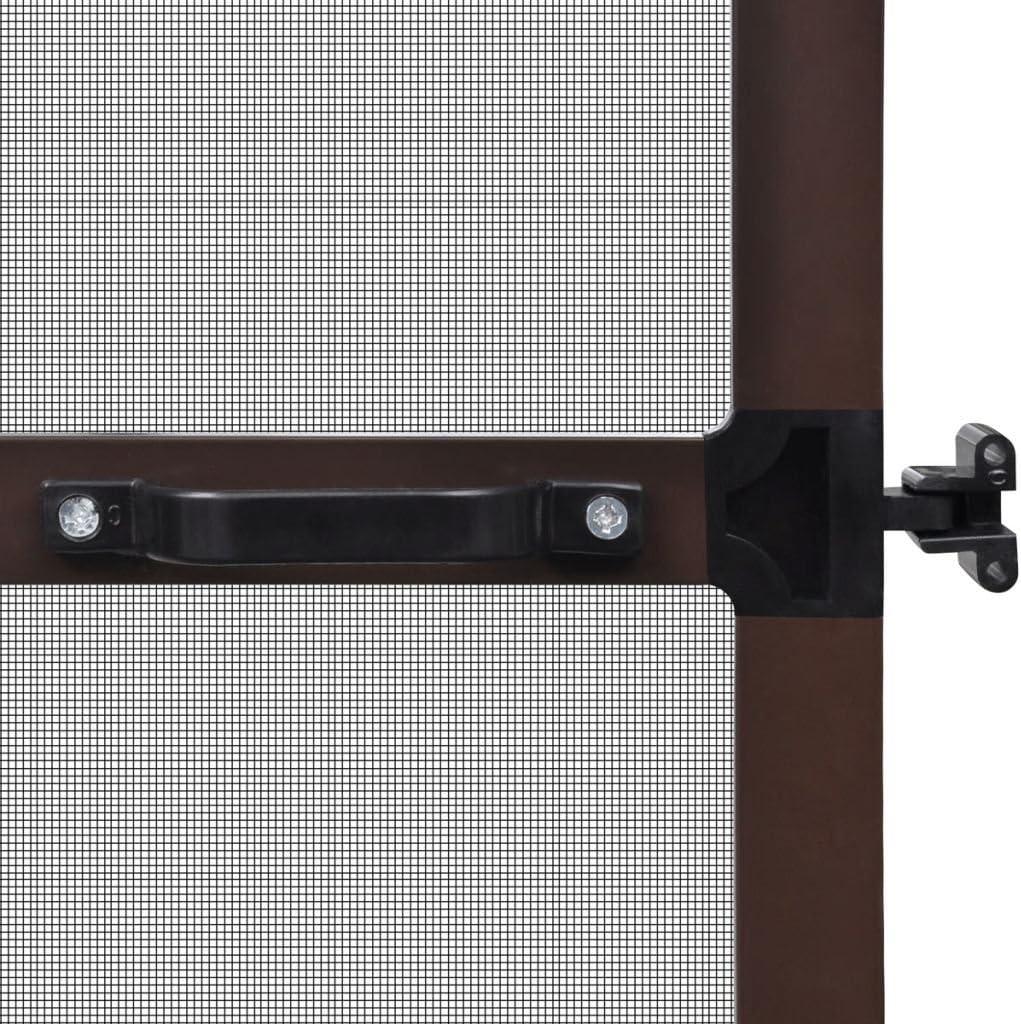 Festnight Mosquitera para Puertas de Estructura de Aluminio Abatibles Marr/ón 100 x 215 cm